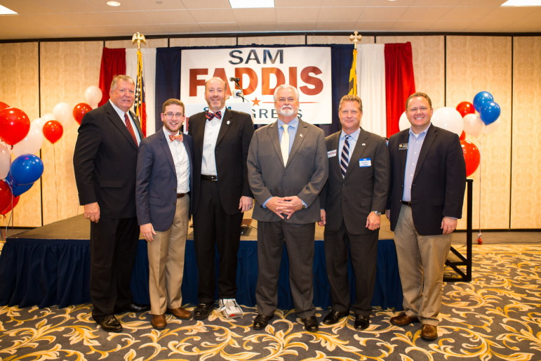 Republican former CIA manager Sam Faddis, running for Congress to unseat Rep. Steny Hoyer, was endorsed by five Republican elected officials. From left: State Sen. Ed Reilly, newly elected Bowie City Council member Michael Estevez, Anne Arundel County Council Chairman Jerry Walker, Faddis, Anne Arundel County Executive Steve Schuh and House Minority Leader Nic Kipke.