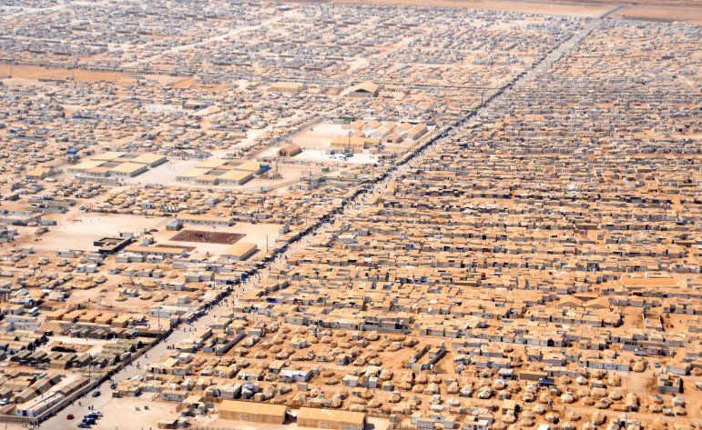 Zaatari camp in Jordan for Syrian refugees. Estimated populations in March, 83,000. Photo from Wikipedia