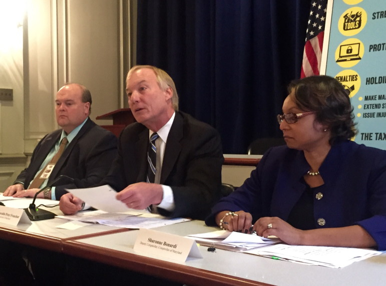 From left: Jeffrey Kelly, director of the Comptroller's Field Enforcement Division, Comptroller Peter Franchot and Deputy Comptroller Sharonne Bonardi announce the proposed Taxpayer Protection Act . Capital News Service photo by Naomi Eide.
