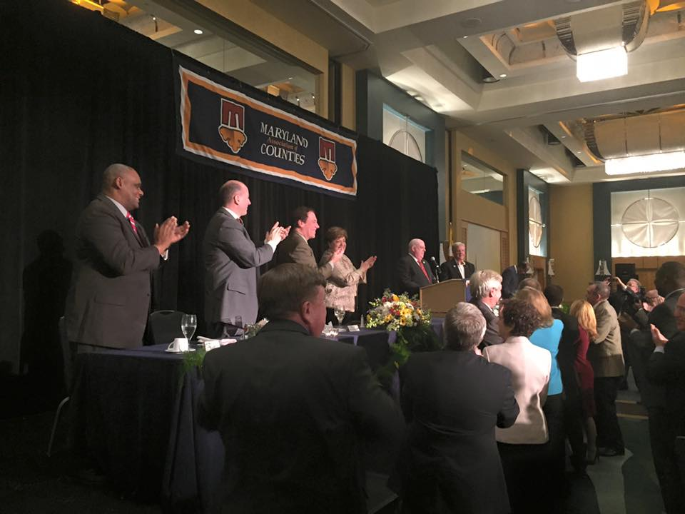 Hogan gets warm welcome from county officials, promises to restore road funding, collaborate