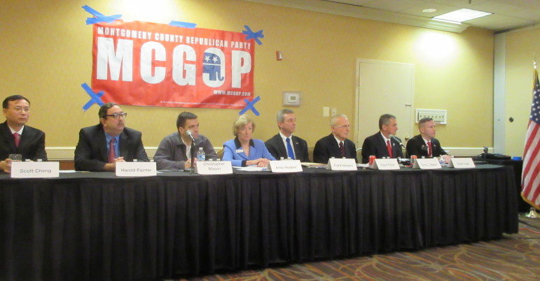 6th Congressional District Republican candidates: from left, Scott Cheng, Harold Painter, Christopher Mason, Amie Hoeber, Frank Howard, Robin Ficker, Terry Baker, David Vogt.