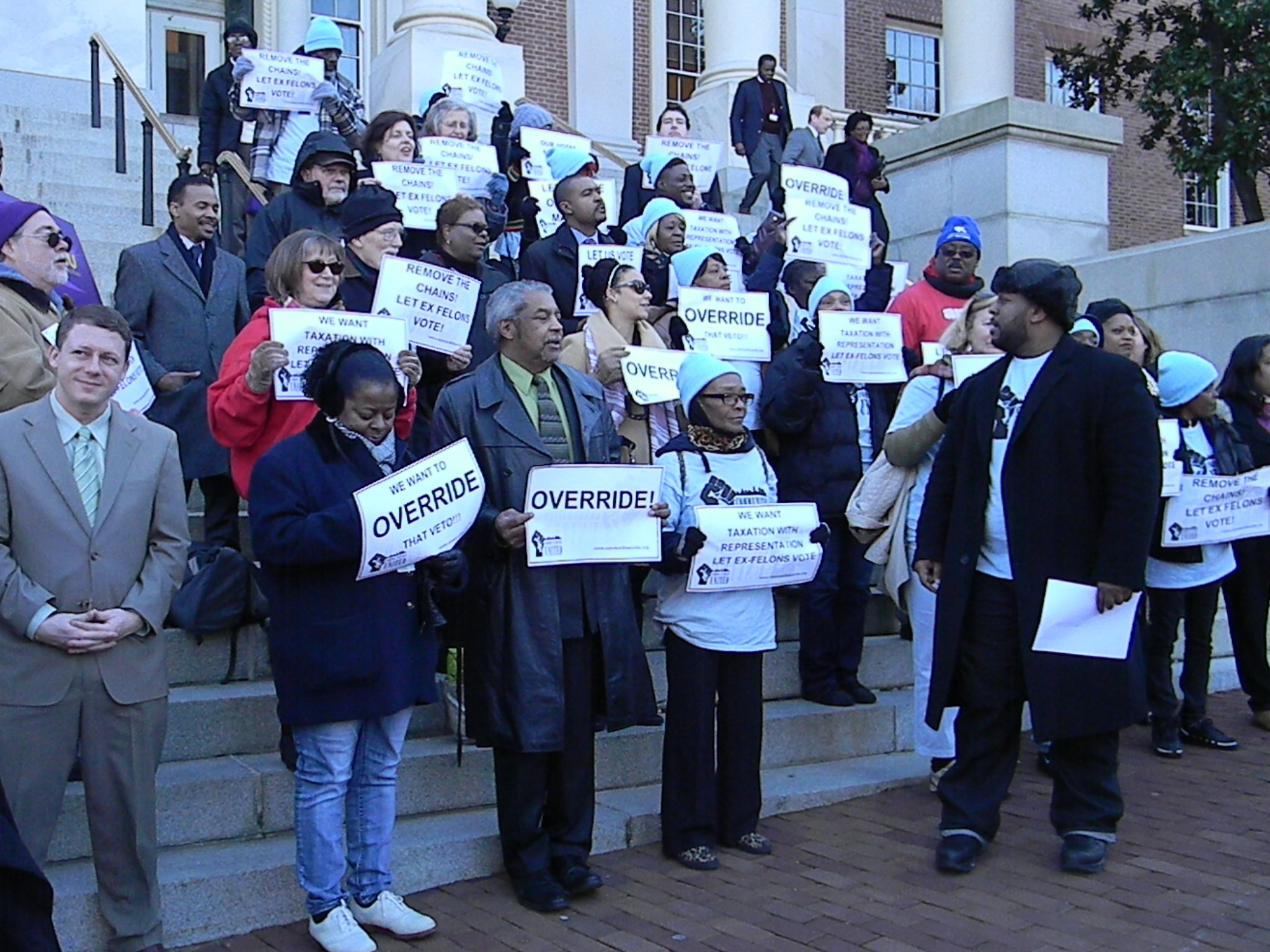 Activists and ex-felons demonstrate to override Gov. Hogan's veto