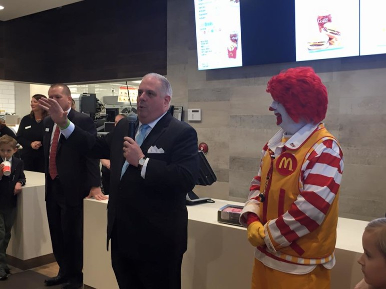 While legislators were chewing on his budget, Gov. Larry Hogan helped open a new McDonald's restaurant on North Point Boulevard in Dundalk. Before that, he joined in announcing a FedExGround distribution center in Sparrows Point.