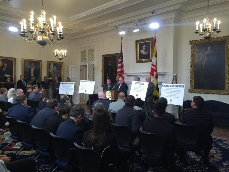 Gov. Larry Hogan announces tax cut proposals. Photo from the Governor's Office.