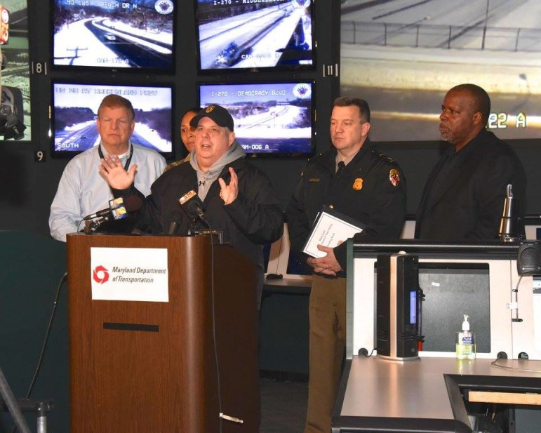 Gov. Hogan talks to reports at State Highway Administration Statewide Operations Center in Hanover near BWI. Photo by Governor's Office.