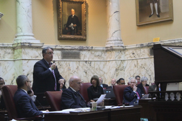 Sen. Richard Madaleno argues on the Senate floor for an override of the governor's veto on an Internet hotel tax. Capital News Service Photo by Josh Magness.