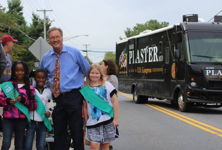 Mark Plaster and his bus in October's Burtonsville Day parade. From his Facebook page.