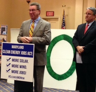 Sens. Mac Middleton and  Richard Madaleno announce Clean Energy Jobs legislation.