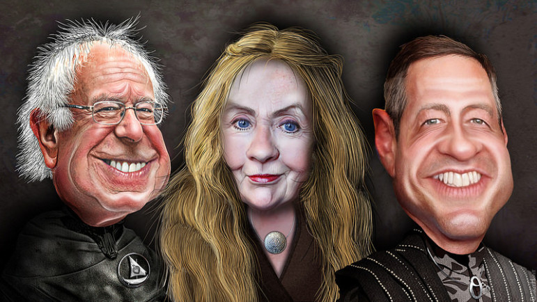 Democrats for President as Game of Thrones: Bernie Sanders, Hillary Clinton, Martin O'Malley. By DonkeyHotey with Flickr Creative Commons License