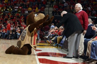 UMd Terrapins mascot Testudo the turtle bows to Gov. Hogan and Senate Prez Mike Miller. Photo by Greg Fiume of Maryland Athletics