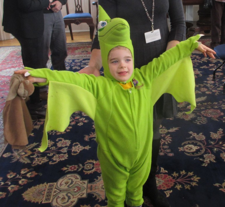 Alyssa Bevan Dangel in costume as a broken-winged pterodactyl, as one federal judge described the shape of the gerrymandered 3rd Congressional District.
