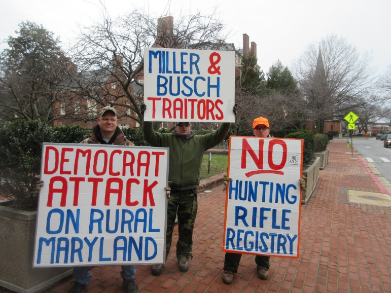 Hunters from the Eastern Shore were demonstrating several days last week, protesting a bill, HB692,that would require any sales of hunting rifles and shotguns to go through a licensed dealer