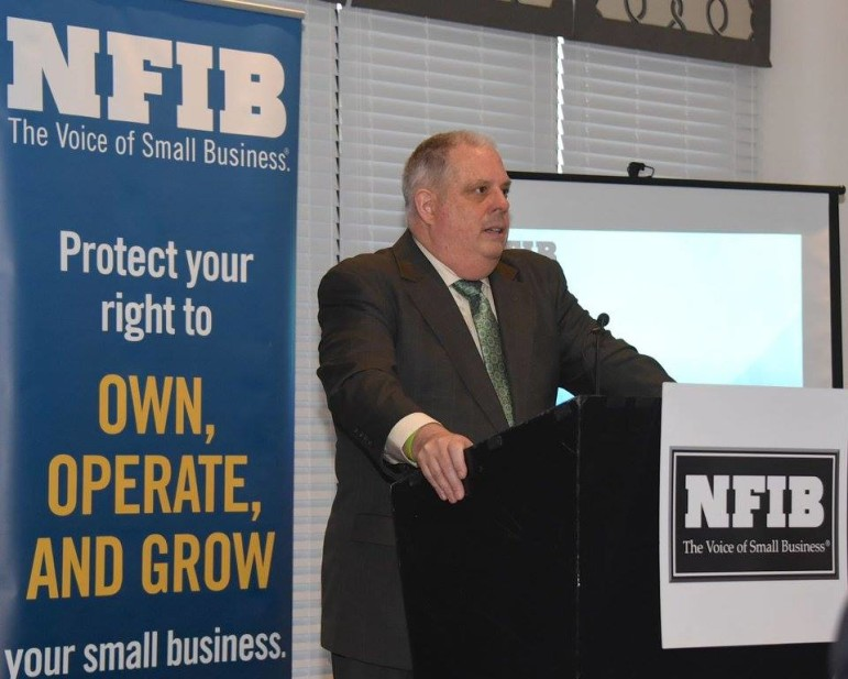 "Gov. Larry Hogan spoke Tuesday to about 100 members of the National Federation of Independent Business. He promised them: ""You have a friend in the governor's mansion, you have a seat at the table ,,, a tireless advocate"" for small business owners."