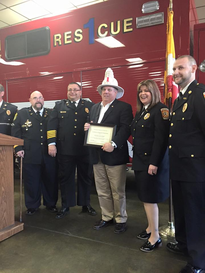 CHIEF HOGAN: As part of a Southern Maryland tour this weekend, Gov. Larry Hogan was made an honorary fire chief at the North Beach Volunteer Fire Company in Calvert County.