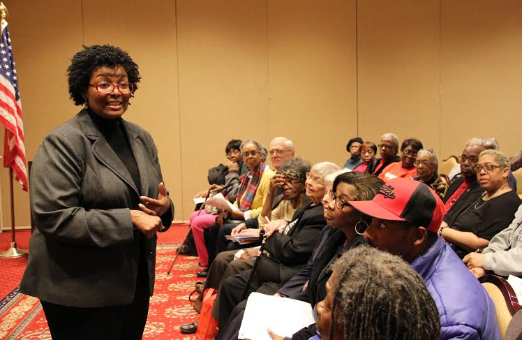 Del. Mary Washington speaks to senior citizens from Baltimore at the United Seniors of Maryland Legisltive Forum.