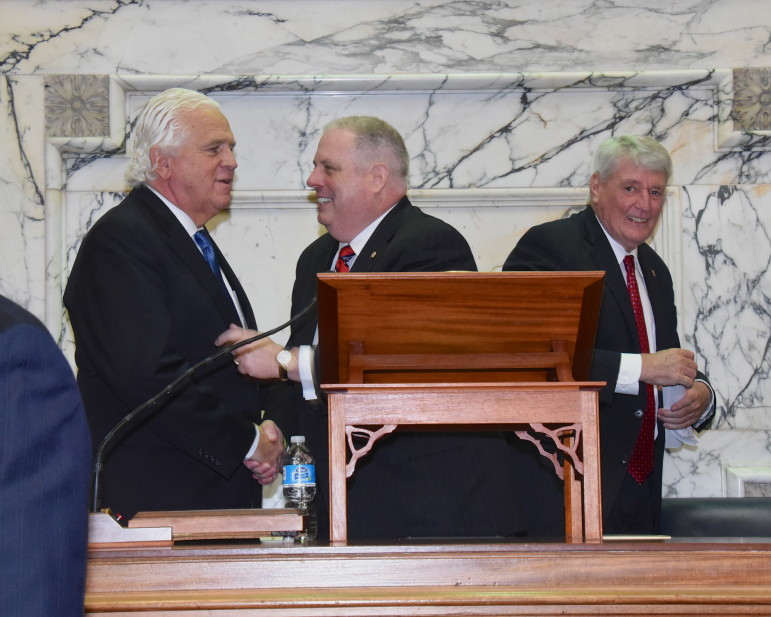 Senate President Mike Miller, Gov. Larry Hogan and House Speaker Michael Busch. Photo by Governor's Office