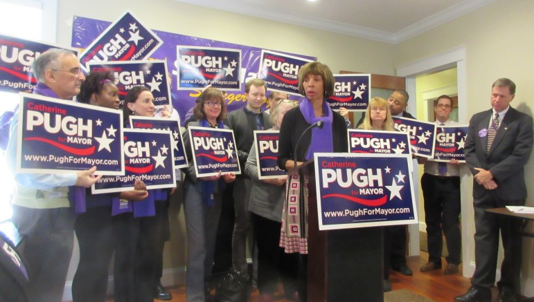 "SEIU, the Service Employees International Union with a 40,000 members in Maryland endorsed Senate Majority Leader Catherine Pugh for mayor of Baltimore Thursday. ""I eat, drink and sleep this city 24/7,"" said Pugh."