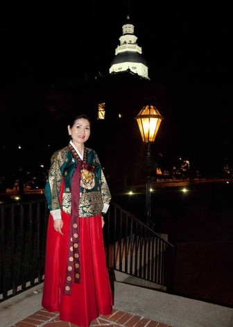 First lady Yumi Hogan donned traditional Korean dress for a large Lunar New Year celebration at Government House last week.