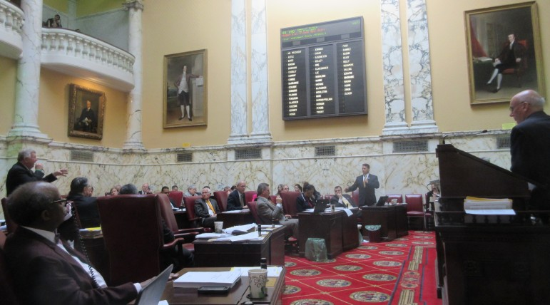 The Maryland Senate debated the budget Wednesday. Budget Chairman Ed Kasemeyer is at the podium, far right.