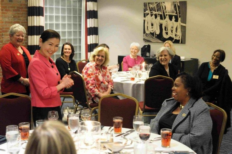 First lady Yumi Hogan, second from left, spoke Wednesday night to Ladies in Leadership in Annapolis, a bipartisan group.