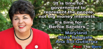 Maryland Del. Ana Sol-Gutierrez is supporting Bernie Sanders. From Maryland for Sanders Facebook page.