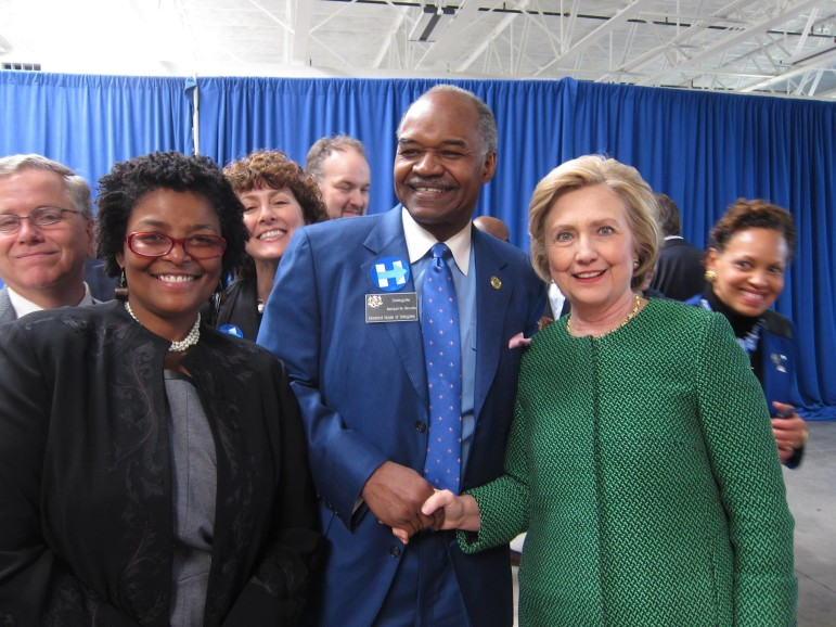 Hillary Clinton with a bunch of Maryland delegates. From left: Eric Ebersole, Mary Washington, Shelly Hettlemen, Luke Clippinger (in background), Benjamin Brooks, Clinton and Terri Hill. From Del. Clarence Lam's Facebook page.