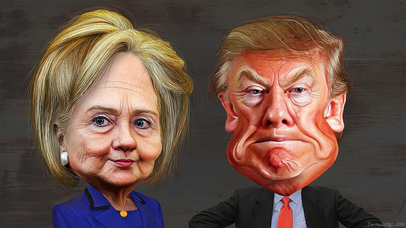 Hillary Clinton and Donald Trump. Illustration by DonkeyHotey with Flickr Creative Commons