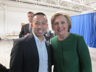 Del. Clarence Lam and Hillary Clinton. From Lam's Facebook page.