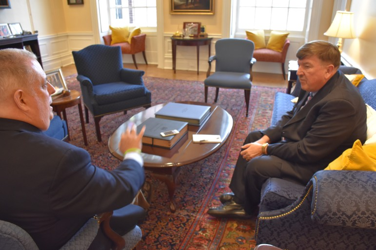 Gov. Larry Hogan, left, interviewed in his State House office by MarylandReporter.coms Len Lazarick. Photo by Rachel Bluth, Capital News Service