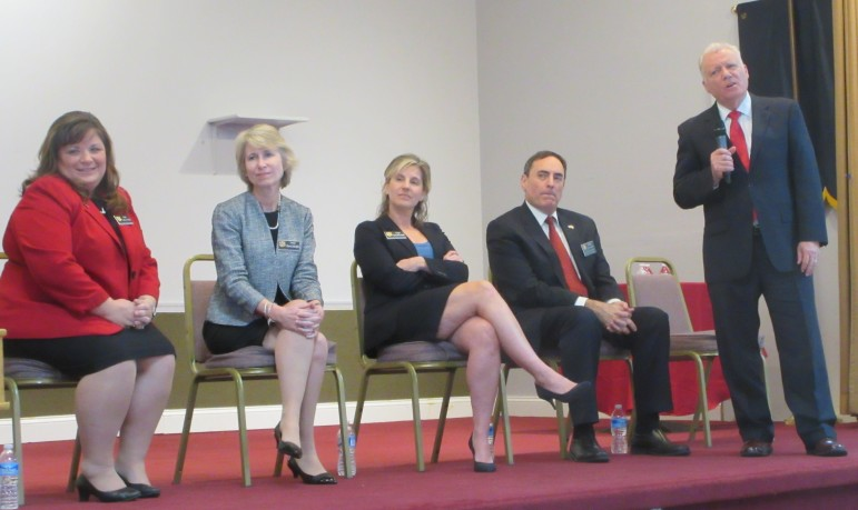 Sitting judges, literally, from left: Cathy Vitale, Glenn Klavans, Stacy McCormack, Donna Schaeffe