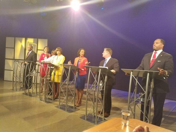 Momemnts before Tuesday mayoral debate. Jayne Miller photo from WBAL Tvlll