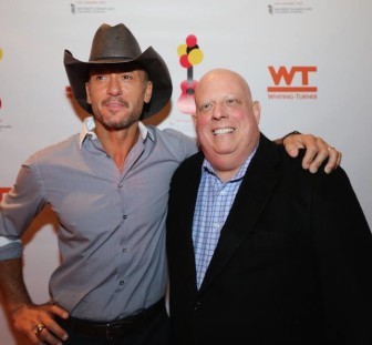 Country singer Tim McGraw and Gov. Larry Hogan at the Oct. 24 benefit for University of Maryland's Children's Hospital. Photo from Larry Hogan Facebook page.
