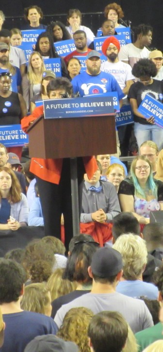 Delegate Ana Sol Gutierrez could have used the stool Sen. Barbara Mikulski typically brings to speaking events.