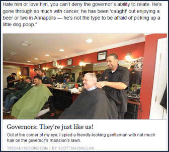 Gov. Hogan gets a haircut. Picture posted on his Facebook page.