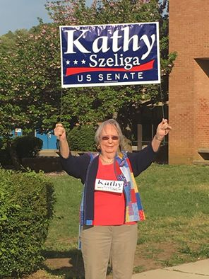 Senate candidate Kathy Szeliga wishes her mother a happy Mother's Day and posts this picture of her campaigning mom on Facebook. Click photo to enlarge.