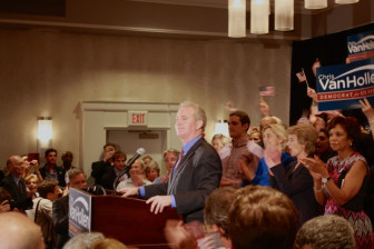 U.S. Rep. Chris Van Hollen at primary election night celebration. Photo by Andrew Metcalf/Bethesda Beat.
