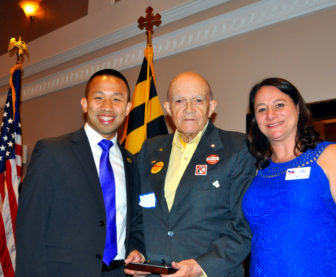 Ken Stevens, center, was given the Howard County Democrats' Wendy Fiedler Lifetime Achievement Award for his support of progressive causes. Shown here with Del. Clarence Lam and party chiar Abby Hendrix, Stevens is a regular commenter on MarylandReporter.com. Photo by Ed Kimmel