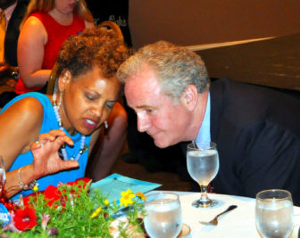 Del Terri Hill talks to Rep. Chris Van Hollen. Photo by Ed Kimmel, MdFriendofHillary on Flickr.