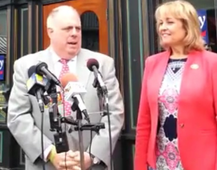 Gov. Larry Hogan endorsed Del. Kathy Szeliga for U.S. Senate Tuesday. Both are skipping the Cleveland GOP convention. Screen shot from video on Szeliga's Facebook page.