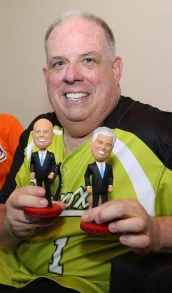 Hogan with bobbleheads