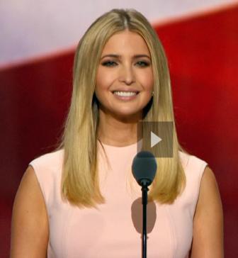 Ivanka Trump introduces her father. From a C-Span screen shot.