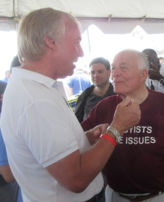 Comptroller Peter Franchot, left, also visited the Bereano tent.