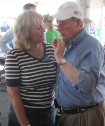 Del. Kathy Szeliga, the Republican nominee for U.S. Senate, talks with Maryland Secretary of State John Wobensmith.