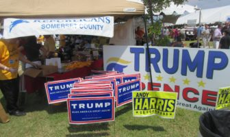 The Somerset County Republican Central Committee was handing out Trump signs. Most were taken in half an hour.