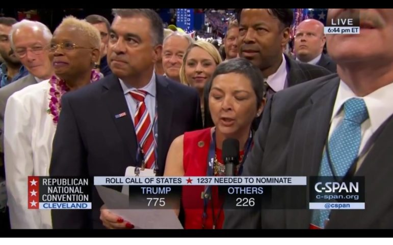In this screen shot from C-Span, Maryland GOP Chair Diana Waterman casts Maryland's votes for Donald Trump.