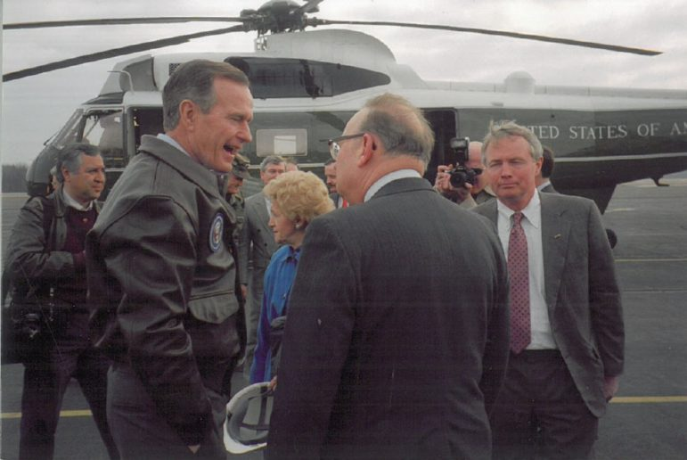 President George H.W. Bush in a 1992 campaign stop in Maryland with Helen Bentley, Anne Arundel County GOP Committeeman Walt Stealey (back to camera), and the developer Henry A. Knott Jr. Photo by Blaine Taylor