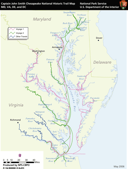 Captain John Smith-Chesapeake-NHT-map