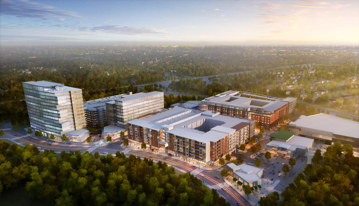The densest part of the new development called the Merriweather District. Illustration by Howard Hughes Corp.