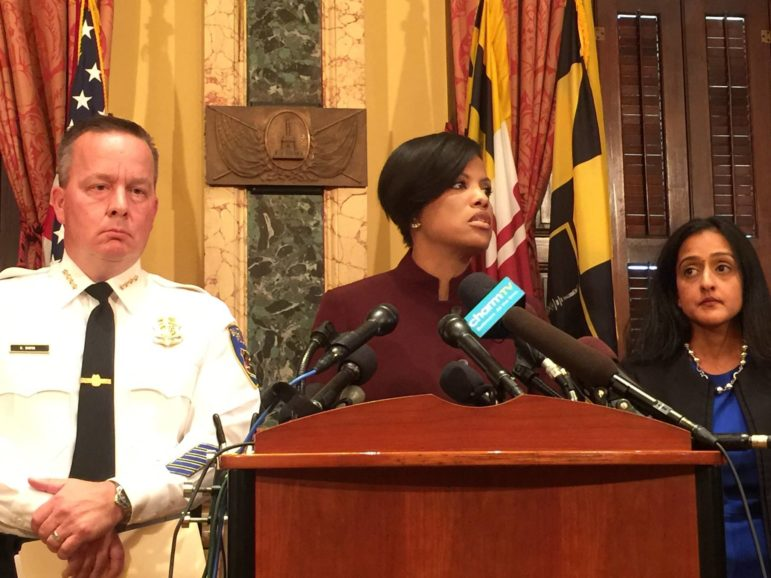 Reacting to the release of the Justice Department report: Baltimore Police Commissioner Kevin Davis, Mayor Stephanie Rawlings-Blake, and Vanita Gupta, head of the Civil Rights Division.
