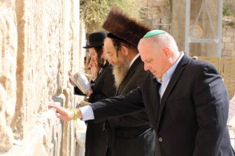 Gov. Larry Hogan prays at the Western Wall in Jerusalem.